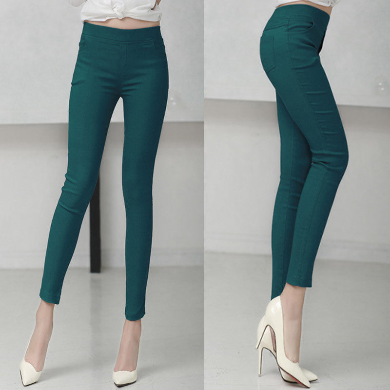 dark green 1803 / LColored Stretch Fashion Female Candy Colored Pencil Women's Pants Elastic Cotton Pants OL Slim Trousers Size S-3XL