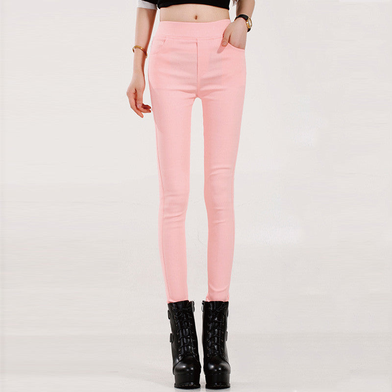 pink 1803 / SColored Stretch Fashion Female Candy Colored Pencil Women's Pants Elastic Cotton Pants OL Slim Trousers Size S-3XL