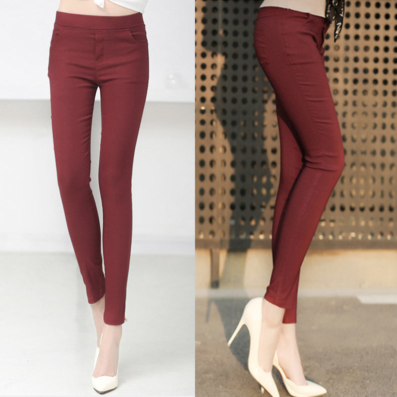 wine red 1803 / MColored Stretch Fashion Female Candy Colored Pencil Women's Pants Elastic Cotton Pants OL Slim Trousers Size S-3XL
