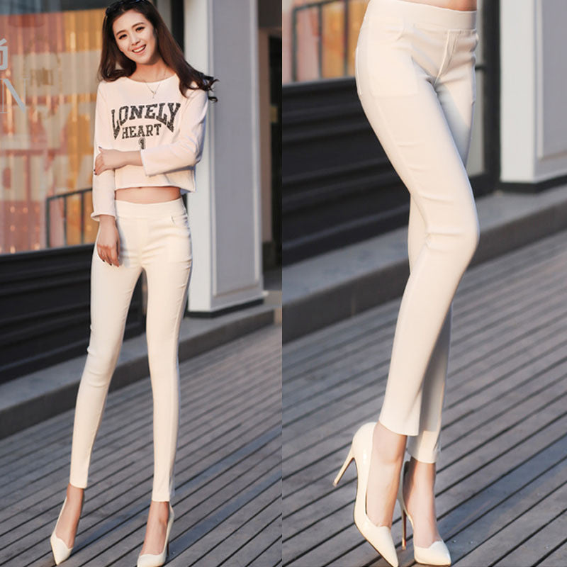 white 1803 / LColored Stretch Fashion Female Candy Colored Pencil Women's Pants Elastic Cotton Pants OL Slim Trousers Size S-3XL