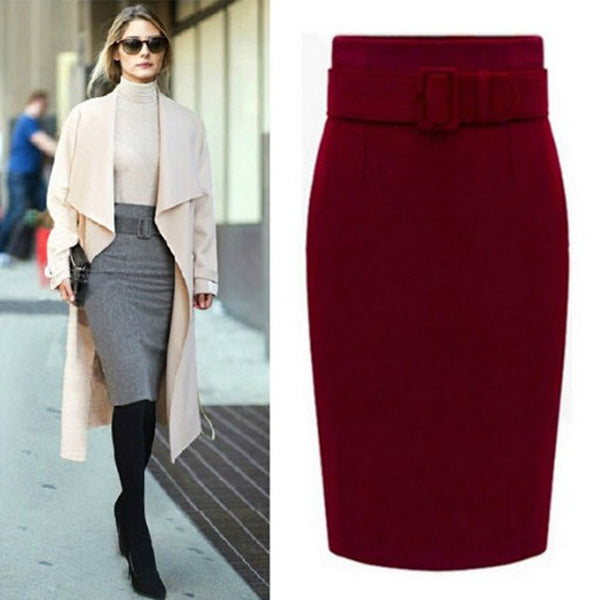 35eb8070a fashion cotton plus size high waist casual midi pencil skirt women skirts  female