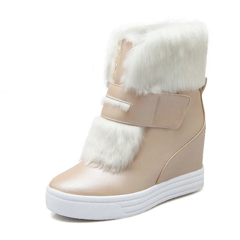 warm faux fur waterproof snow boots women winter fashion ladies ankle boots big size 34-43 white beige pink color - CelebritystyleFashion.com.au online clothing shop australia