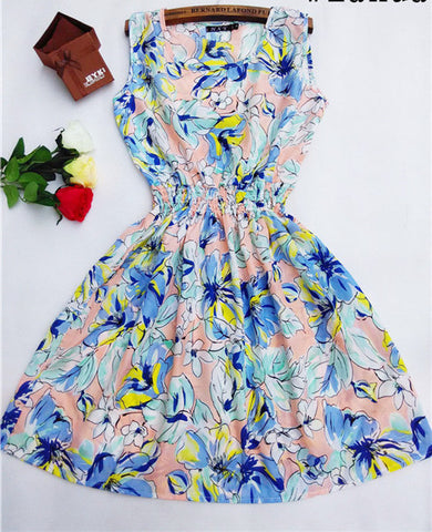 Women casual Bohemian floral leopard sleeveless vest printed beach chiffon dress nz17 - CelebritystyleFashion.com.au online clothing shop australia