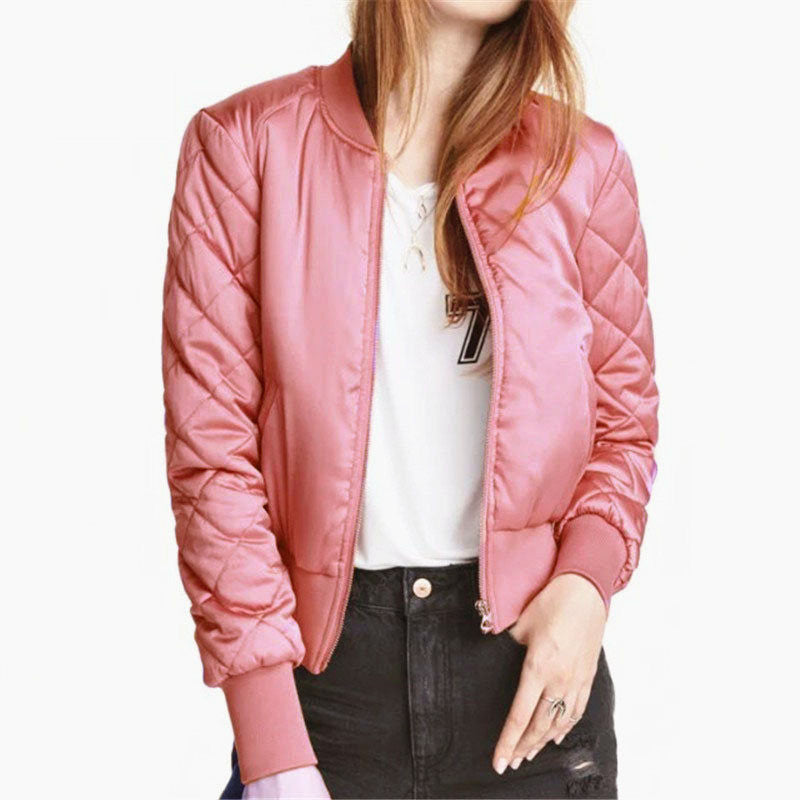 Fashion Womens Winter Warm V-Neck Quilted Zipper Coat Jacket Padded Bomber Fleece Short Outerwear Tops chaquetas 6 ColorsPinkXXLCELEBRITYSTYLEFASHION