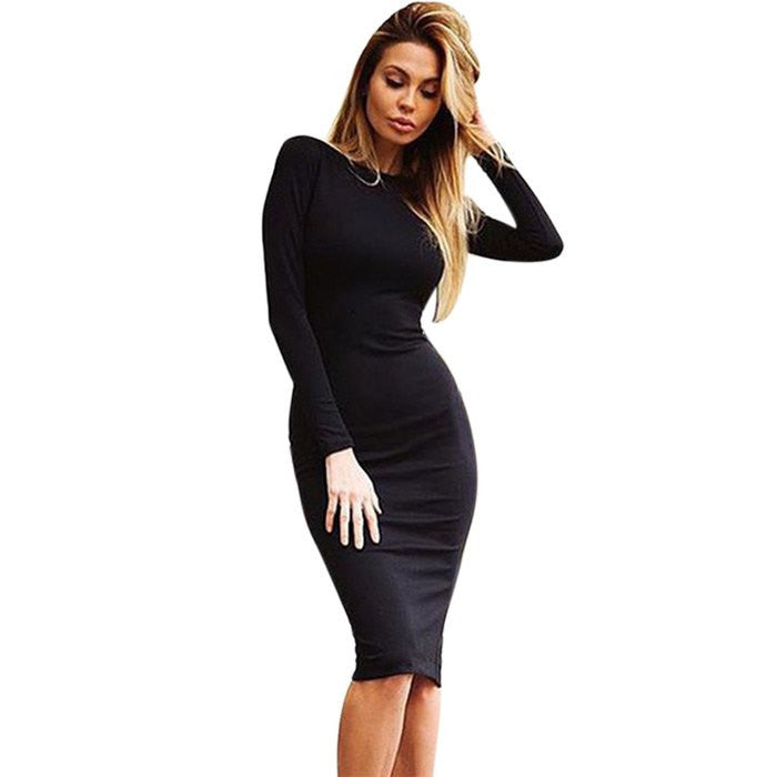 BLACK / XLAutumn Maxi Simple Round Collar Knee-Length Sexy Elegant Dress Long Sleeve Full Zipper Tight Design Fitted Dresses Women Vestido