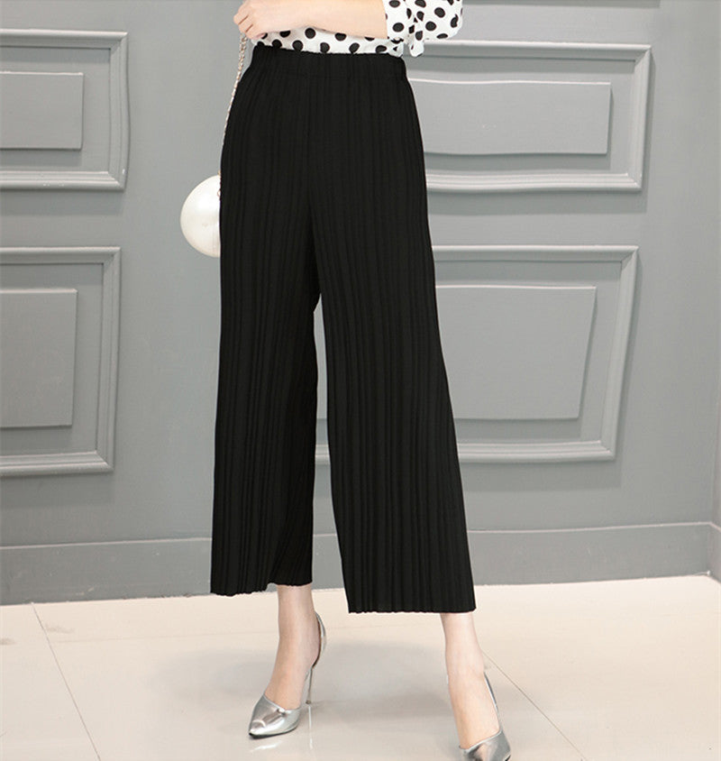 Black / One Size5 Colors Women Trousers Fashion Chiffon Pants Loose Casual Style Solid Color High Waist Pants Wide Leg Pants Plus Size