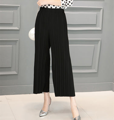 5 Colors Women Trousers Fashion Chiffon Pants Loose Casual Style Solid Color High Waist Pants Wide Leg Pants Plus Size - CelebritystyleFashion.com.au online clothing shop australia