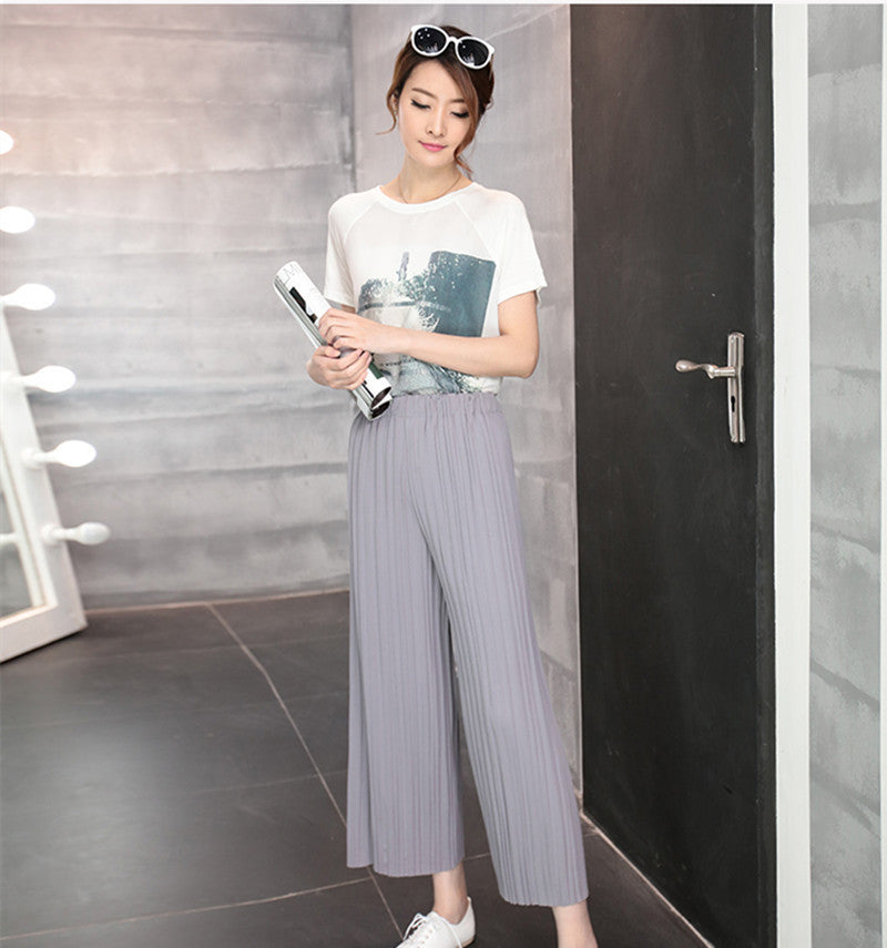 Gray / One Size5 Colors Women Trousers Fashion Chiffon Pants Loose Casual Style Solid Color High Waist Pants Wide Leg Pants Plus Size