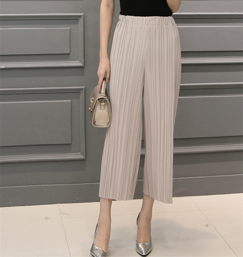 Beiige / One Size5 Colors Women Trousers Fashion Chiffon Pants Loose Casual Style Solid Color High Waist Pants Wide Leg Pants Plus Size