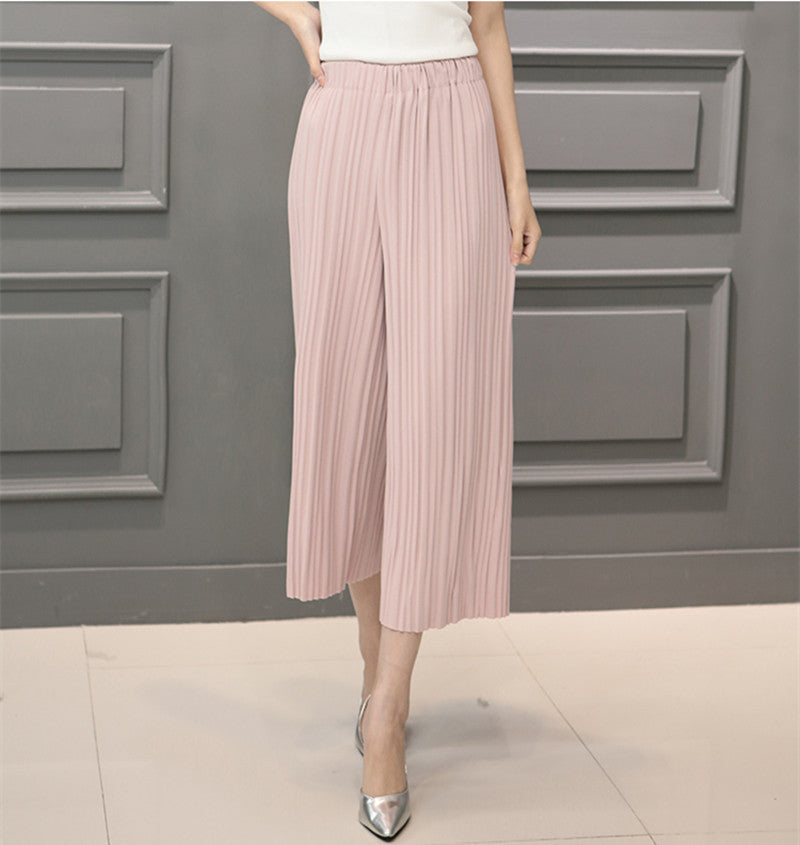 Pink / One Size5 Colors Women Trousers Fashion Chiffon Pants Loose Casual Style Solid Color High Waist Pants Wide Leg Pants Plus Size