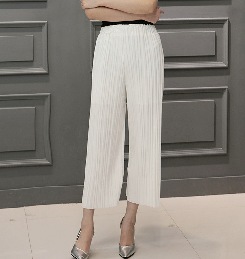 White / One Size5 Colors Women Trousers Fashion Chiffon Pants Loose Casual Style Solid Color High Waist Pants Wide Leg Pants Plus Size