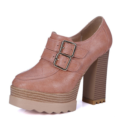 Spring Autumn Thick High Heeled Pumps Round Toe Lacing Female Platform Shoes Casual Office Lady Shoes Square Heeled - CelebritystyleFashion.com.au online clothing shop australia