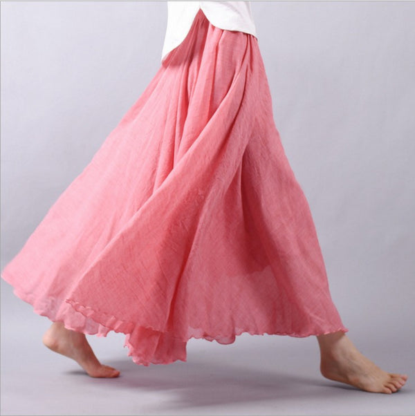 01ff4528d0 Women Linen Cotton Long Skirts Elastic Waist Pleated Maxi Skirts Beach Boho  Vintage Summer Skirts Faldas
