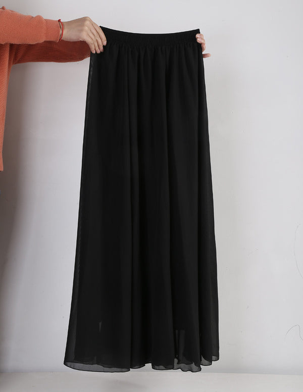 616d50685b Women Chiffon Long Skirts Candy Color Pleated Maxi Skirts Spring Summer  Skirts M L XL 17Colors