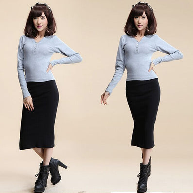 Autumn Winter Women Skirt Wool Rib Knit Long Skirt Faldas Package Hip Split Skirts A919 - CelebritystyleFashion.com.au online clothing shop australia