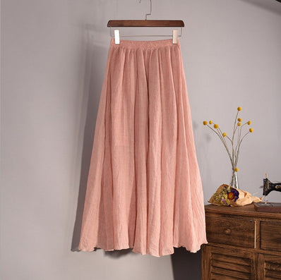 Women Top quality Cotton and Linen Long Skirt Elastic Waist A-line Pleated Maxi Beach Vintage Summer Skirts - CelebritystyleFashion.com.au online clothing shop australia