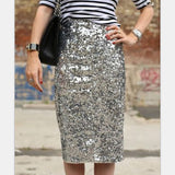 Women Bling Sequin Skirt Fashion Midi Skirt High Waist Bodycon One-Step Party Skirts For Women Plus Size - CelebritystyleFashion.com.au online clothing shop australia