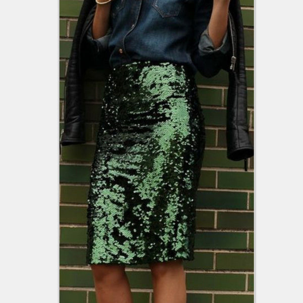 f60e81c1e5 Women Bling Sequin Skirt Fashion Midi Skirt High Waist Bodycon One-Step  Party Skirts For