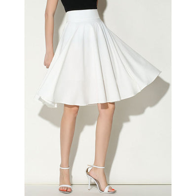 Midi Skirt Summer Women Clothing High Waist Pleated A Line Skater Vintage Casual Knee Length Saia Petticoat - CelebritystyleFashion.com.au online clothing shop australia