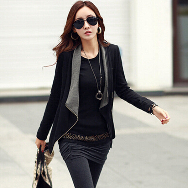 GrayBlack / SAutumn Winter Women Basic Coat Jackets Korean Style Slim Turn Down Collar Side Zipper Cardigan Plus Size Outerwear S-2XL