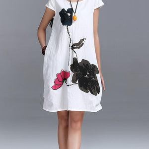 New Fashion Summer Arts style High Quality cotton linen Loose casual Women Dresses Vintage Ink Printing Short sleeve Dress - CelebritystyleFashion.com.au online clothing shop australia