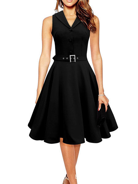 Black / S50s 60s Women Vintage Dresses Summer Elegant Dress Sleeveless Party Dresses dark blue style a line rockabilly dress