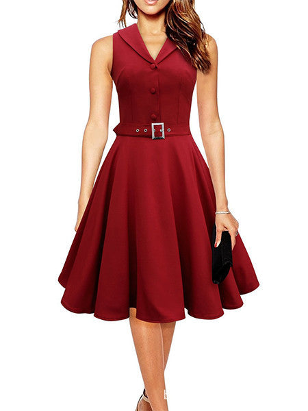 Burgundy / S50s 60s Women Vintage Dresses Summer Elegant Dress Sleeveless Party Dresses dark blue style a line rockabilly dress