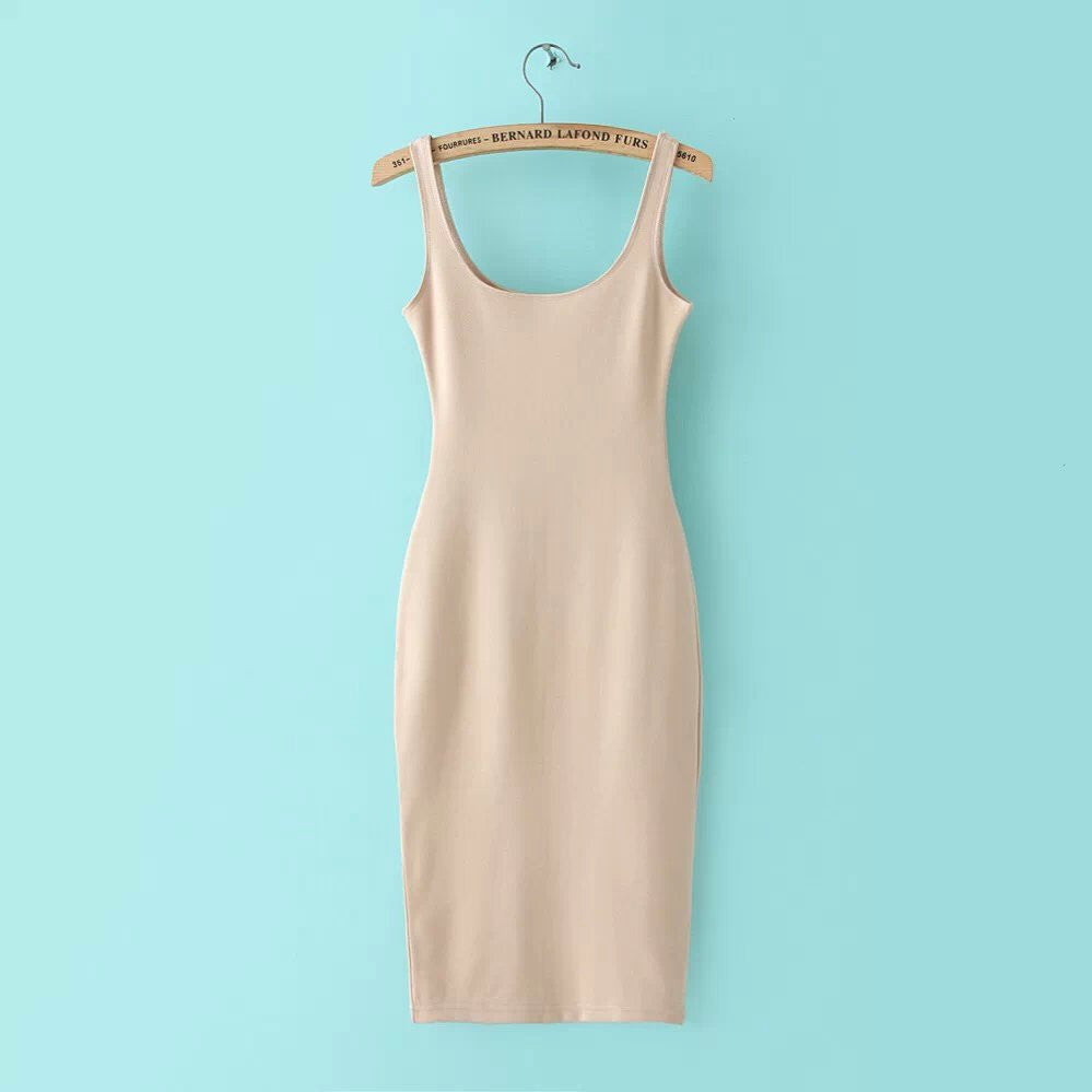 Beige / SAutumn Women Dress Sleeveless Slim O-neck Solid Color Pencil Casual Tank Dress Size S M L Vestido De Verao QZ204R1