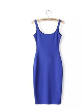 blue / SAutumn Women Dress Sleeveless Slim O-neck Solid Color Pencil Casual Tank Dress Size S M L Vestido De Verao QZ204R1