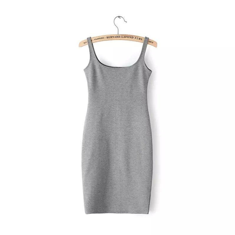 grey / SAutumn Women Dress Sleeveless Slim O-neck Solid Color Pencil Casual Tank Dress Size S M L Vestido De Verao QZ204R1