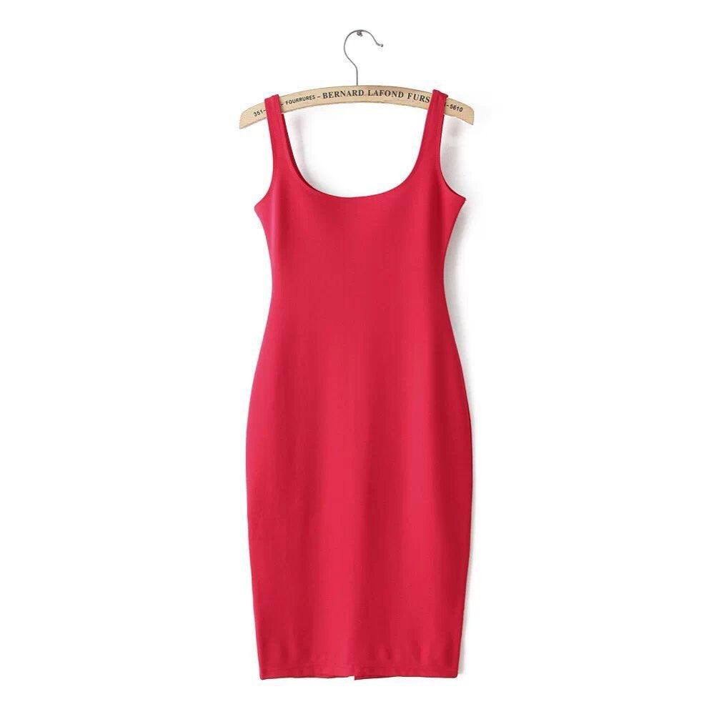 red / SAutumn Women Dress Sleeveless Slim O-neck Solid Color Pencil Casual Tank Dress Size S M L Vestido De Verao QZ204R1