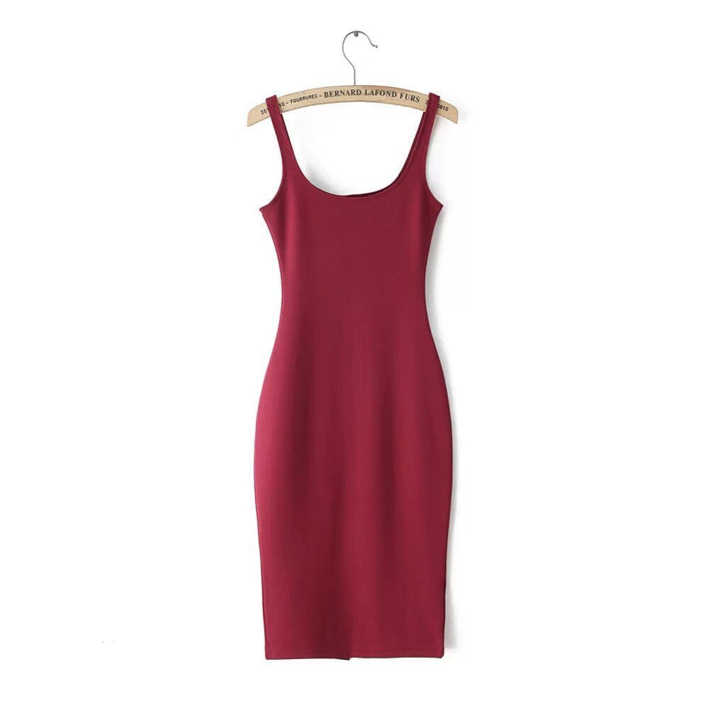RR / LAutumn Women Dress Sleeveless Slim O-neck Solid Color Pencil Casual Tank Dress Size S M L Vestido De Verao QZ204R1