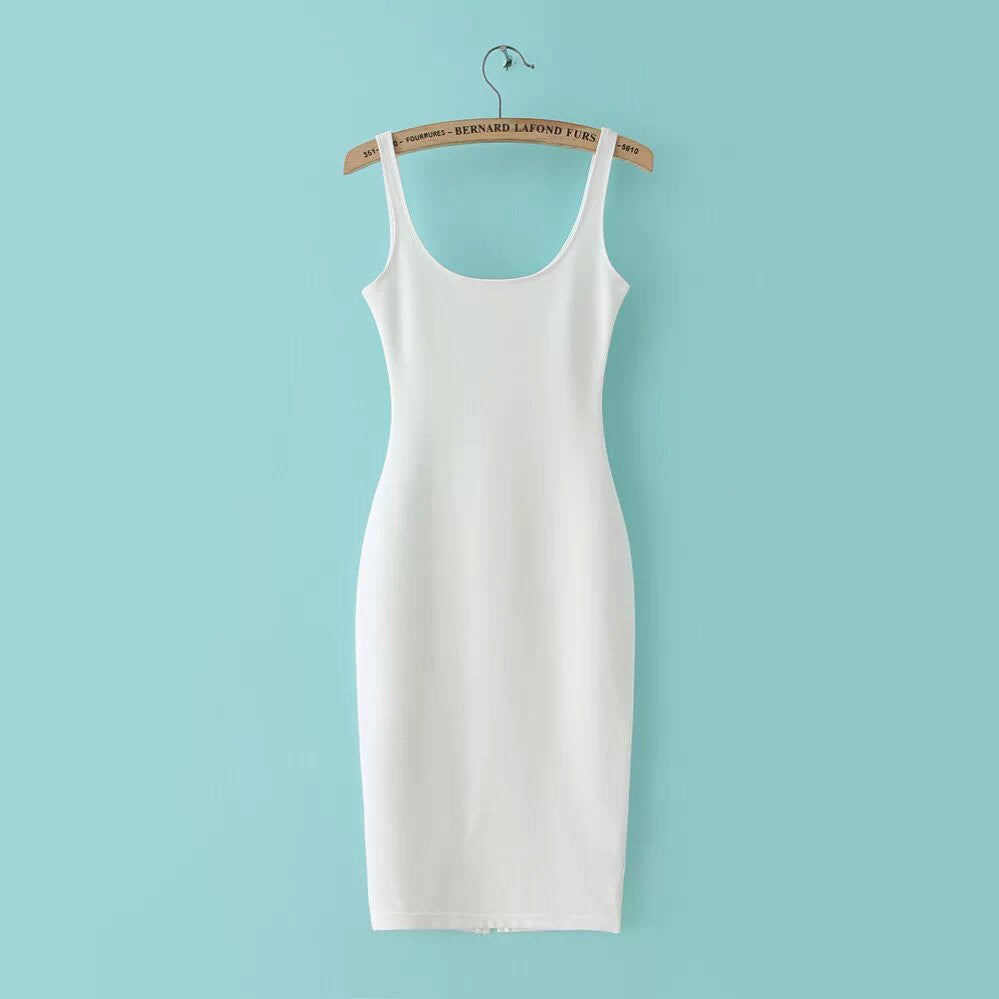 white / LAutumn Women Dress Sleeveless Slim O-neck Solid Color Pencil Casual Tank Dress Size S M L Vestido De Verao QZ204R1