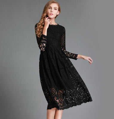 New European Spring Women's Lace Hollow Out Long Dresses Bohemian Femme Casual Clothing Women Sexy Slim Party Dress Vestido - CelebritystyleFashion.com.au online clothing shop australia