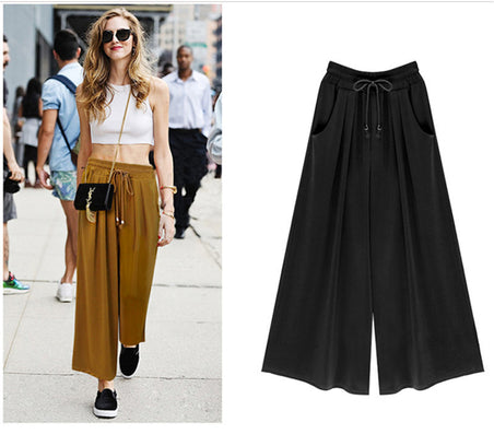 Women's Summer Harem Pants Casual Loose Cotton Blended Pleated Pockets Solid Elastic Waist Wide Leg Pants Plus Size - CelebritystyleFashion.com.au online clothing shop australia