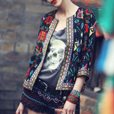 Women Jackets Vintage Flower Print Three Quarter Casual Short Jackets Slim Coat O-neck Plus Size S-XL - CelebritystyleFashion.com.au online clothing shop australia