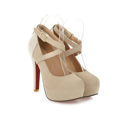 Fashion Platform Pumps Sexy High Heeled Shoes Thin Heels Round Toe Platform Shoes Women's Wedding Shoes Size 34-42 - CelebritystyleFashion.com.au online clothing shop australia