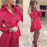 New Autumn Fashion Women Shirt Dress Small Dots Printed Fashion Lrregular Long Sleeve Mini Vestidos Dresses - CelebritystyleFashion.com.au online clothing shop australia