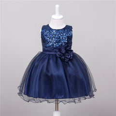 Summer Baby Dresses Girls Sequin Flower Bowknot Birthday Wedding Party Tutu Dress Girl Vestido S1 LE3 - CelebritystyleFashion.com.au online clothing shop australia