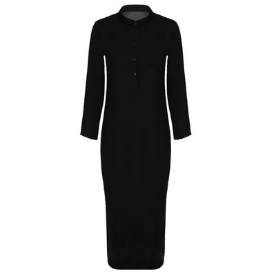 Summer Autumn Long Maxi Dress Women Shirt Dresses Linen Cotton Casual Dress Vintage Split vestidos de festa Black S-XL - CelebritystyleFashion.com.au online clothing shop australia