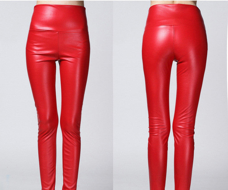 red / SThicken Winter PU Leather women pants high waist elastic fleece stretch Slim woman pencil pants skinny trousers 25 colors