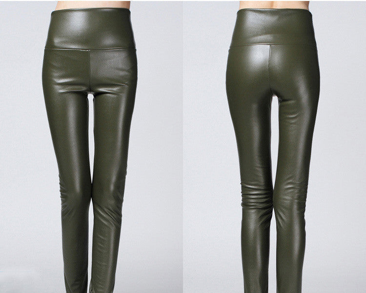 army green / SThicken Winter PU Leather women pants high waist elastic fleece stretch Slim woman pencil pants skinny trousers 25 colors