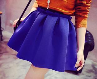 Blue / One SizeHigh Street Women Mini Skirt Ball Gown Underskirt High Waist Pleated Skirt For Girls 1D30