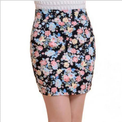 a show / L5 colors Spring summer women Fashion Girl flower full Printing Short Skirts Elastic hip Skirt New M L size