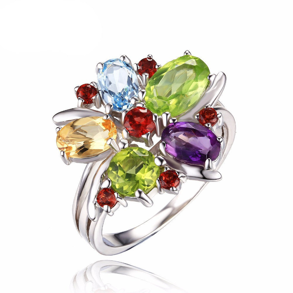 6Flower Multicolor 3.1ct Natural Amethyst Garnet Peridot Citrine Blue Topaz Cocktail Ring 925 Sterling Silver Ring