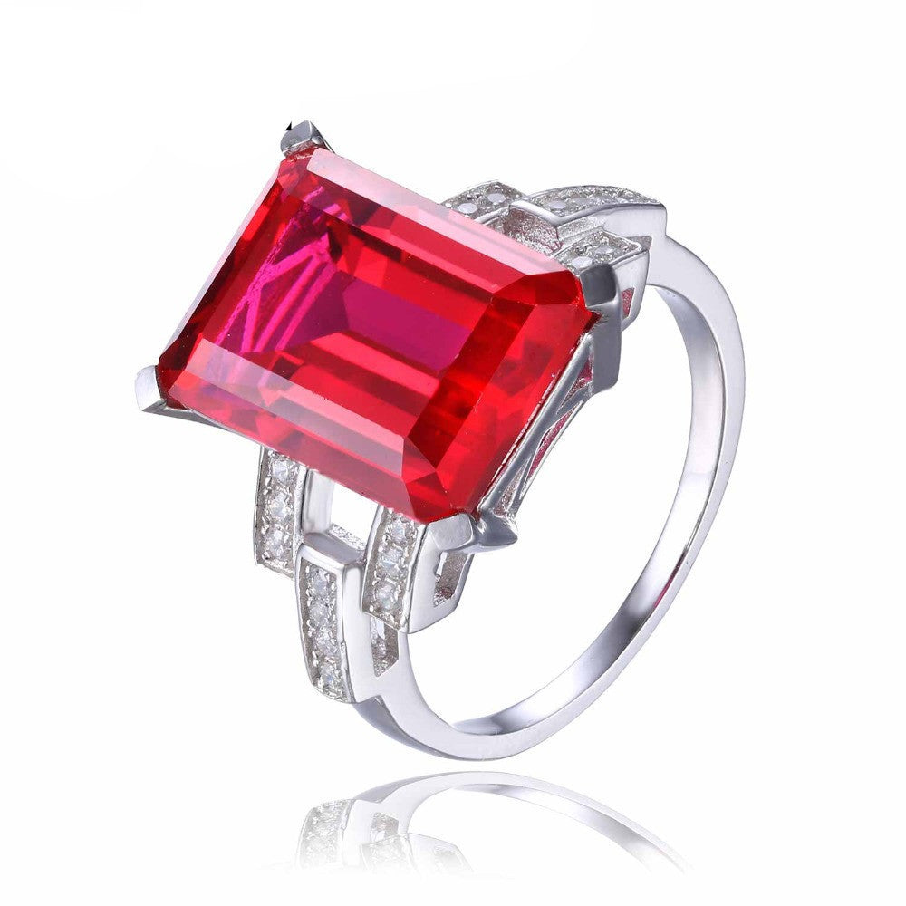 6Luxury Emerald Cut 9.2ct Created Red Ruby Cocktail Ring 925 Sterling Silver Jewelry for Women Fashion Ring