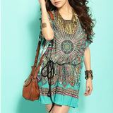 vestido feminino women plus size summer dresses Loose Ethnic Print Skater Batwing sleeve tunics vintage Sexy bohemian dress - CelebritystyleFashion.com.au online clothing shop australia