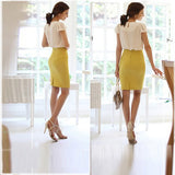 Women Career Solid High Waist Slim Fit Knee Length Straight Pencil Skirt - CelebritystyleFashion.com.au online clothing shop australia