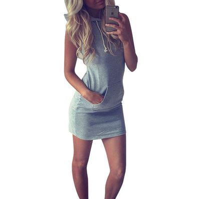 Summer Women Ladies Casual Shirt Hooded Dress Sundress robe Vintage Sexy Slim Bodycon Party Night Club Dresses Z2 - CelebritystyleFashion.com.au online clothing shop australia