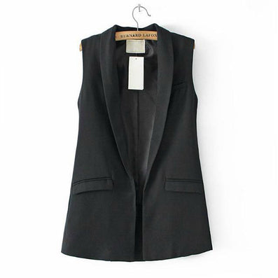 Women Vest Sleeveless Formal Coat V Neck Blazers Suit One Button Jacket - CelebritystyleFashion.com.au online clothing shop australia